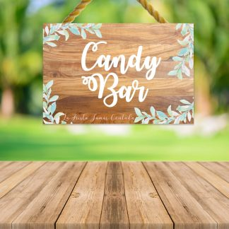 "Cartel ""Candy Bar"" con fondo de madera de nogal"