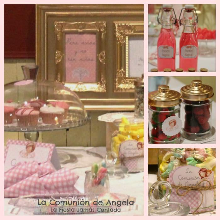 mesa con dulces para comunión