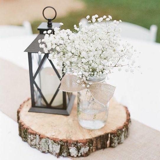rodaja de madera centro de mesa para boda